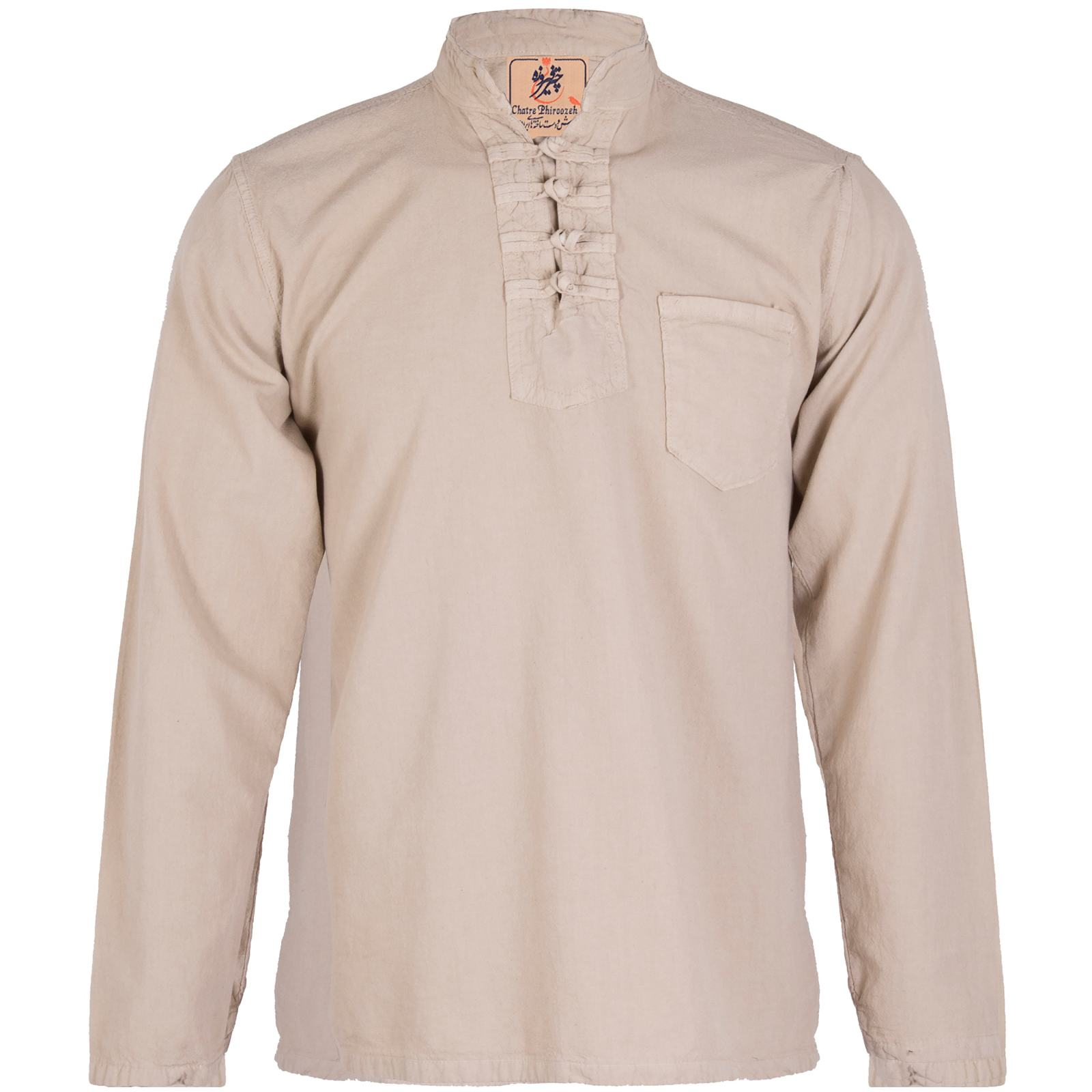 پیراهن مردانه الیاف طبیعی چترفیروزه مدل چهارگره کرم کد 3 -  - 1