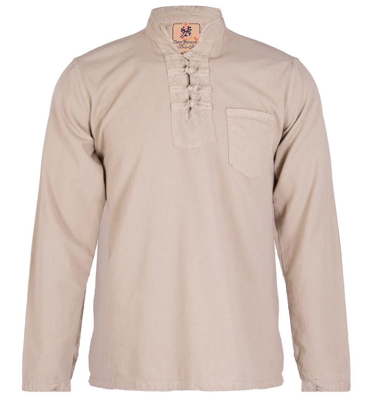 پیراهن مردانه الیاف طبیعی چترفیروزه مدل چهارگره کرم کد 3 main 1 1