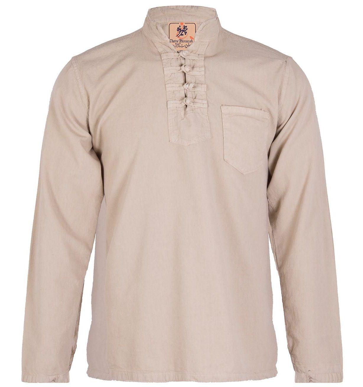 پیراهن مردانه الیاف طبیعی چترفیروزه مدل چهارگره کرم کد 3 -  - 3