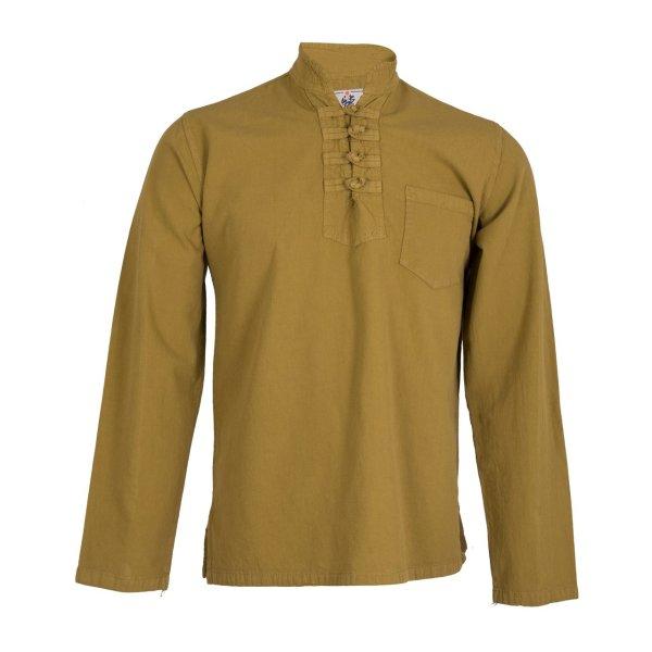 پیراهن مردانه الیاف طبیعی چترفیروزه مدل چهارگره خردلی کد 9