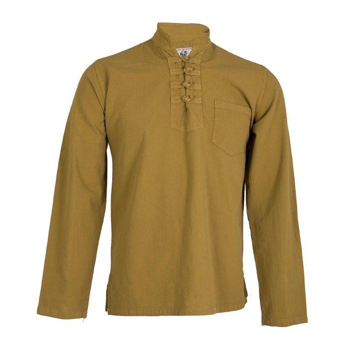 پیراهن مردانه الیاف طبیعی چترفیروزه مدل چهارگره خردلی کد 9 main 1 1
