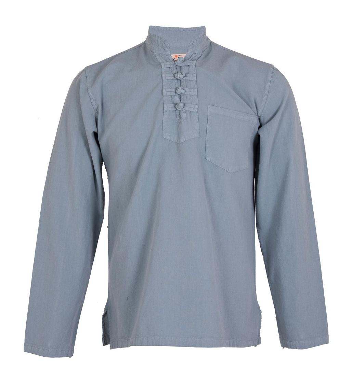 پیراهن مردانه الیاف طبیعی چترفیروزه مدل چهارگره فیلی کد 7
