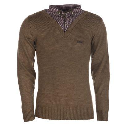 بلوز مردانه ال تی بی مدل یقه پیراهنی شکلاتی ۱۵۴