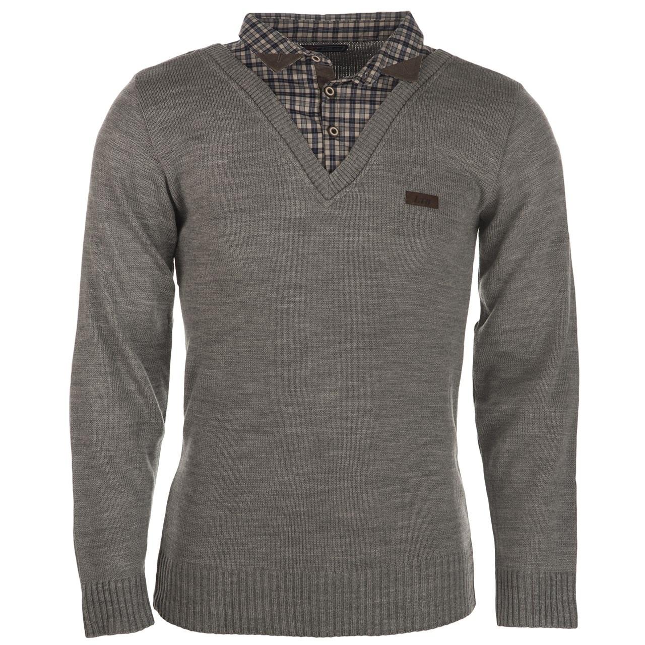 بلوز مردانه ال تی بی مدل یقه پیراهنی طوسی ۱۵۴