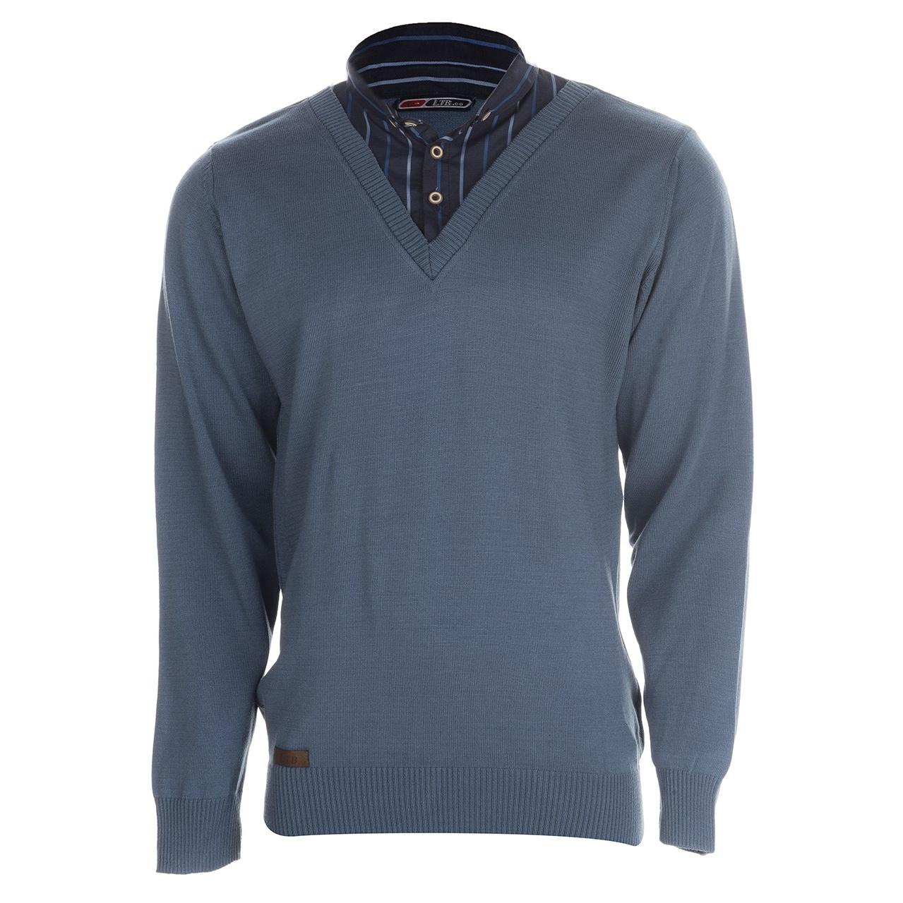 بلوز بافت مردانه ال تی بی طرح یقه پیراهنی آبی ۱۸۱