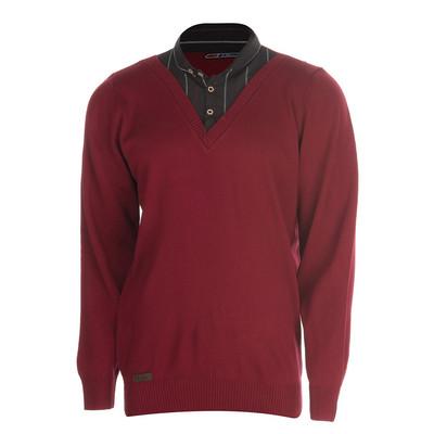بلوز بافت مردانه ال تی بی طرح یقه پیراهنی قرمز ۱۸۱