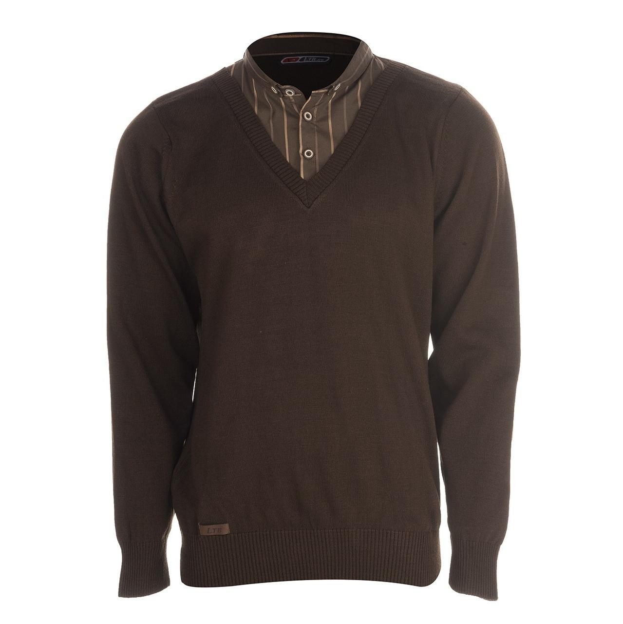 بلوز بافت مردانه ال تی بی طرح یقه پیراهنی قهوه ای ۱۸۱