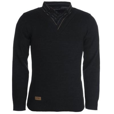 بلوز بافت مردانه ال تی بی طرح یقه پیراهنی ذغالی ۱۸۳