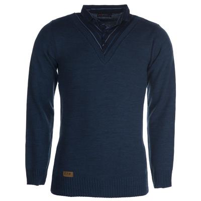 بلوز بافت مردانه ال تی بی طرح یقه پیراهنی آبی ۱۸۳