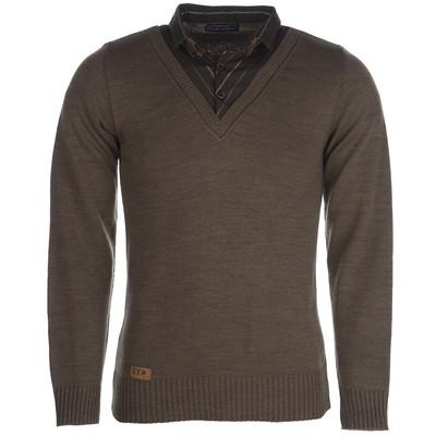 تصویر بلوز بافت مردانه ال تی بی طرح یقه پیراهنی شکلاتی 183