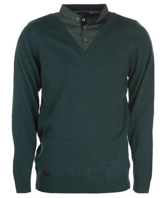 تصویر بلوز بافت مردانه ال تی بی طرح یقه پیراهنی سبز 164
