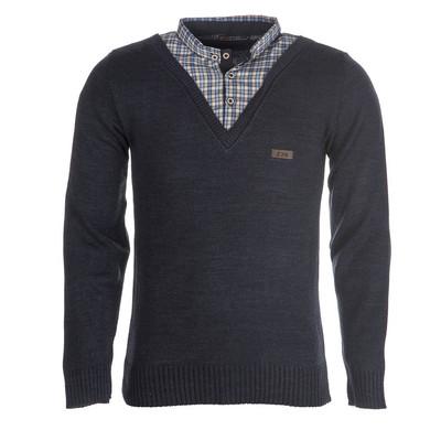 بلوز بافت مردانه ال تی بی یقه پیراهنی سرمه ای۱۴۷
