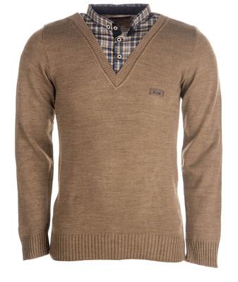 بلوز بافت مردانه ال تی بی یقه پیراهنی شکلاتی۱۴۷