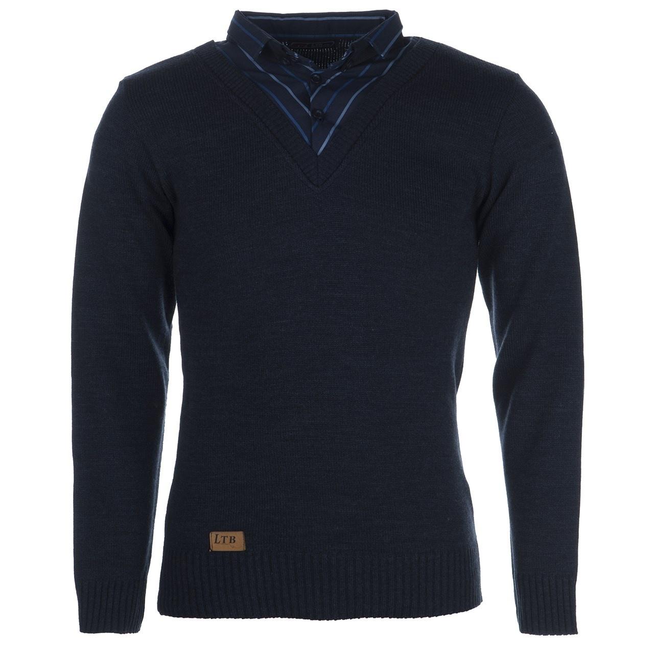 بلوز بافت مردانه ال تی بی طرح یقه پیراهنی سرمه ای ۱۸۳