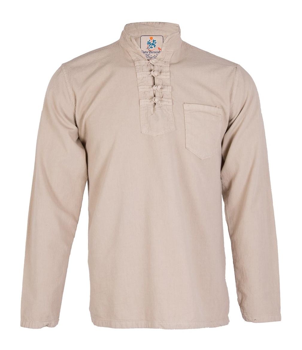 پیراهن مردانه الیاف طبیعی چترفیروزه مدل چهارگره کرم  کد 13
