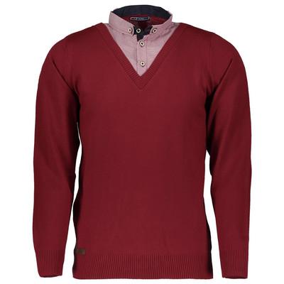بلوز بافت مردانه ال تی بی طرح یقه پیراهنی قرمز ۱۶۴