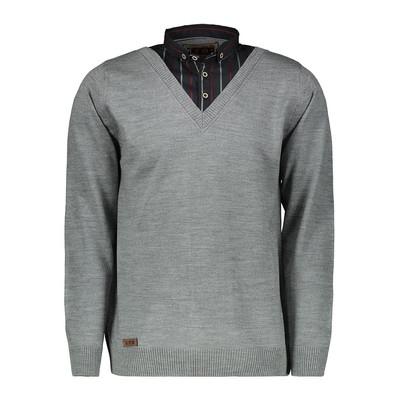 بلوز بافت مردانه ال تی بی طرح یقه پیراهنی طوسی ۱۷۰