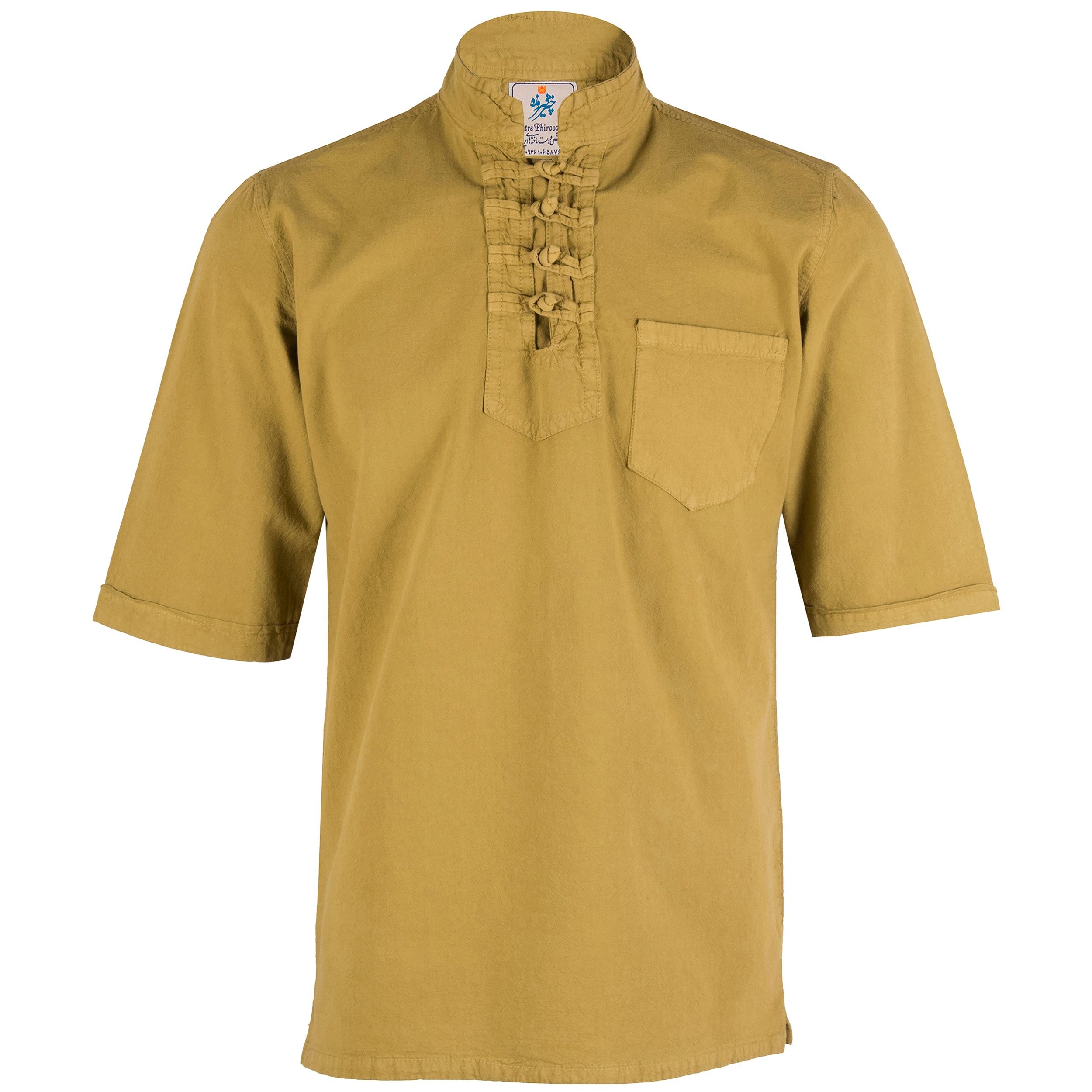 پیراهن مردانه چترفیروزه مدل چهارگره آستین کوتاه کد 8