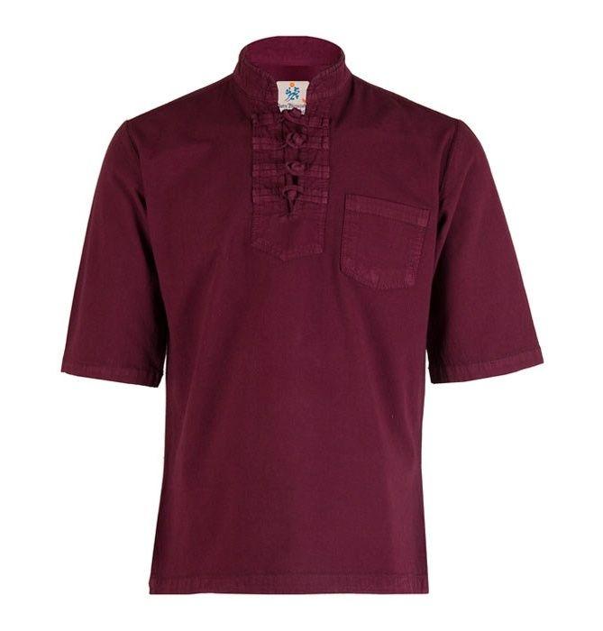 پیراهن مردانه الیاف طبیعی چترفیروزه مدل آستین کوتاه چهارگره  زرشکی کد 7 main 1 1