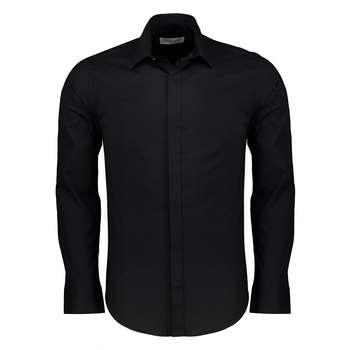 پیراهن نخی آستین بلند سرمه ای مردانه پبونی مدل BN