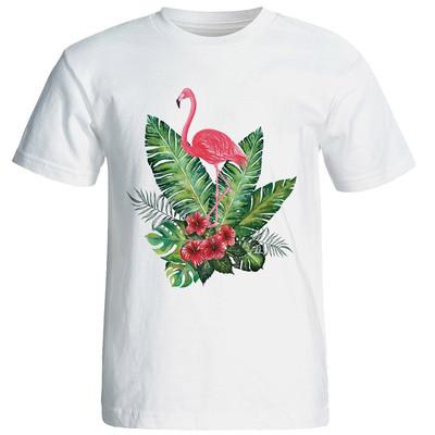تصویر تیشرت آستین کوتاه شین دیزاین طرح  فلامینگو  کد 4148 و راهنمای انتخاب تی شرت
