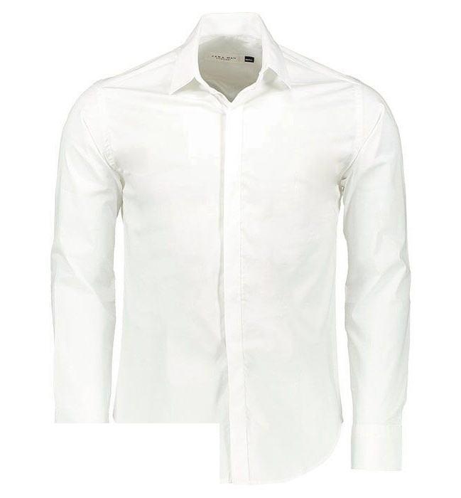 پیراهن آستین بلند سفید مردانه پبونی مدل BW main 1 2