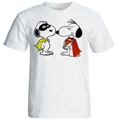 Photo of تی شرت آستین کوتاه شین دیزاین طرح اسنوپی سوپر من و زورو کد 4351