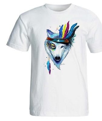 تصویر تی شرت پارس طرح رنگارنگ روباه سفید کد 3929