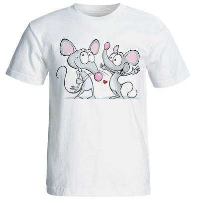 تصویر تی شرت آستین کوتاه شین دیزاین طرح دو موش عاشق کد 4358
