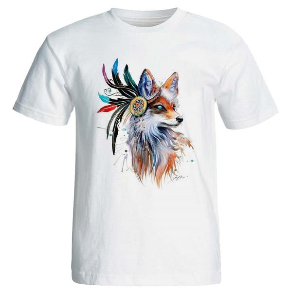 تی شرت پارس طرح رنگارنگ روباه کد3930 B