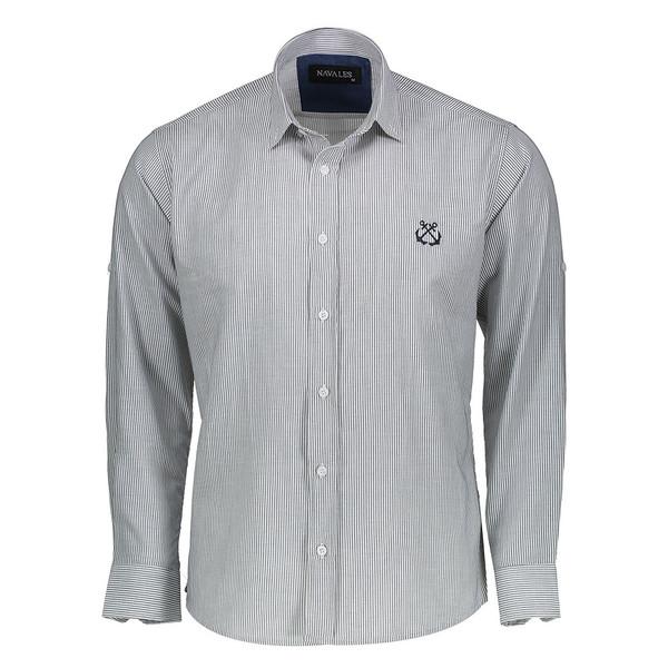 پیراهن  مردانه ناوالس طرح راه راه مدل NKH27-RIZ-CH
