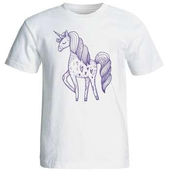 تی شرت آستین کوتاه زنانه شین دیزاین طرح یونیکورن کد 4420