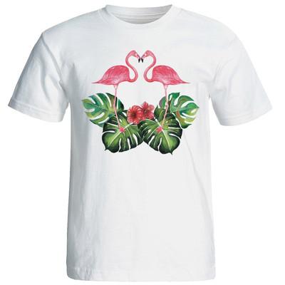 تی شرت آستین کوتاه زنانه شین دیزاین طرح فلامینگو عاشق کد 4432