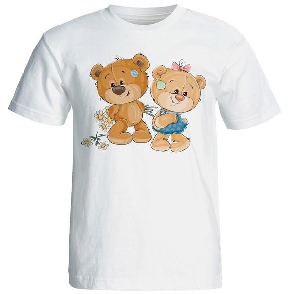 تی شرت آستین کوتاه زنانه شین دیزاین طرح خرس عاشق کد 4438