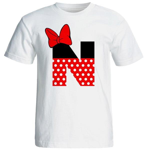 تیشرت آستین کوتاه زنانه شین دیزاین طرح میکی موس حروف اول اسم N کد 4413