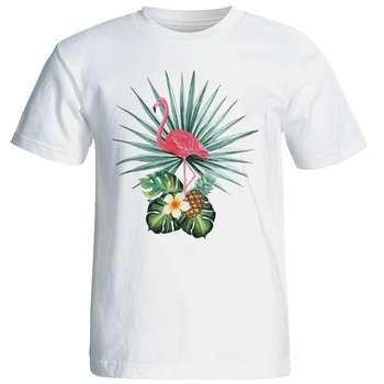 تی شرت آستین کوتاه زنانه شین دیزاین طرح فلامینگو کد 4421
