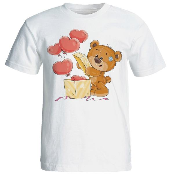 تی شرت آستین کوتاه زنانه شین دیزاین طرح خرس عاشق کد 4433