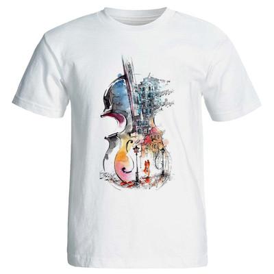 تی شرت آستین کوتاه زنانه طرح گیتار کد 3939