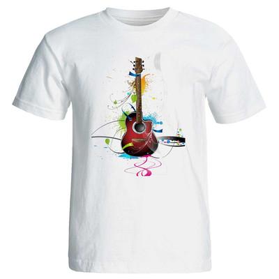 تصویر تی شرت آستین کوتاه زنانه طرح گیتار کد 3810