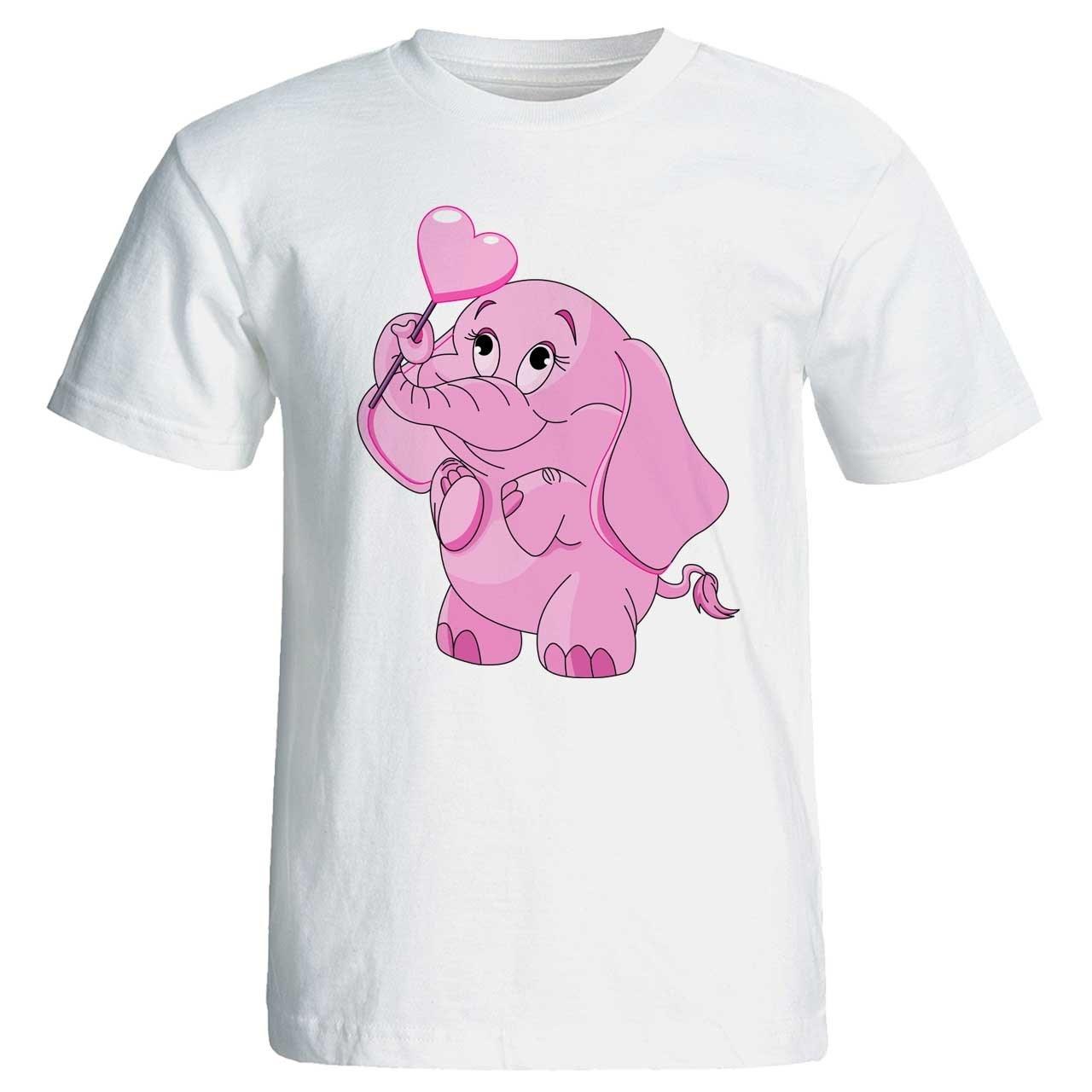 تی شرت زنانه پارس طرح کارتونی فیل صورتی کد 3725