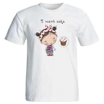 تی شرت زنانه پارس طرح کارتونی دختر عاشق کیک کد 3711