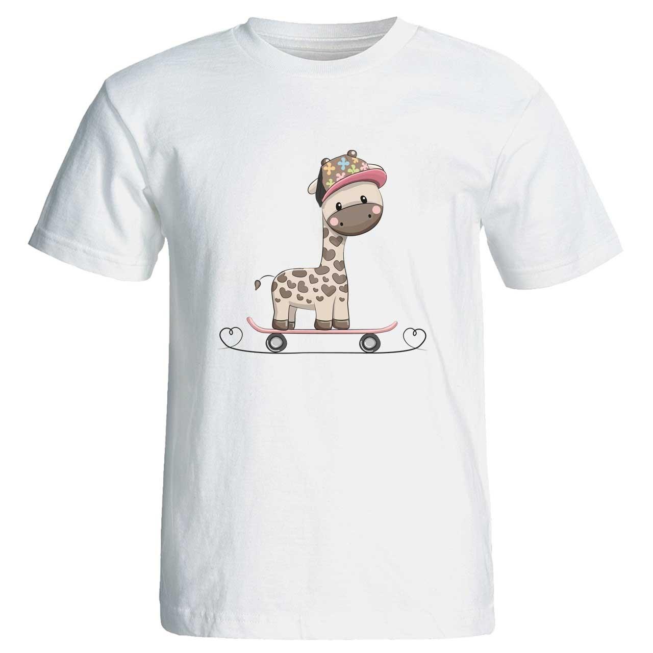 تی  شرت زنانه پارس طرح کارتونی زرافه ناز با اسکیت کد 3749