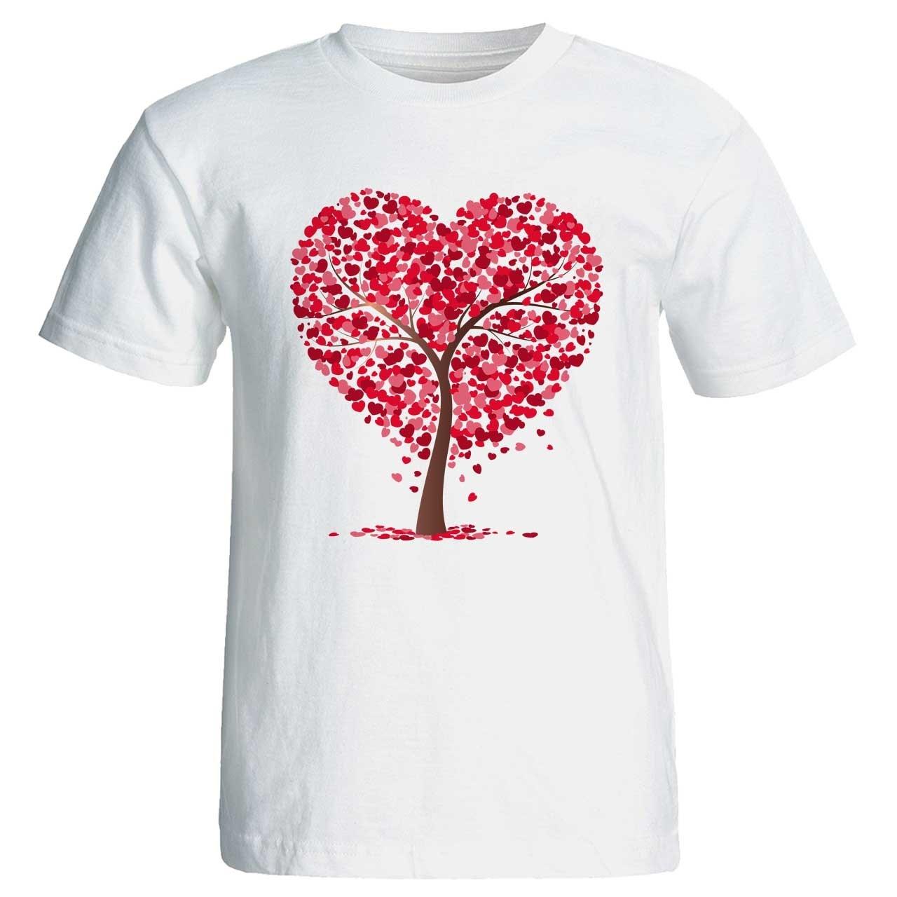 تی شرت زنانه پارس طرح کارتونی درخت قلبی کد 3644