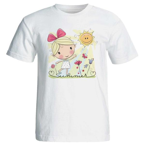 تی شرت زنانه پارس طرح کارتونی دختر کنار گلها کد 3704