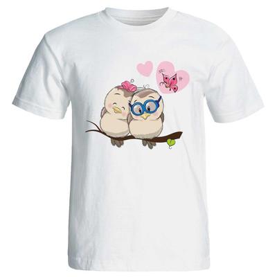 تی شرت زنانه پارس طرح کارتونی جغد عاشق کد ۳۷۲۲