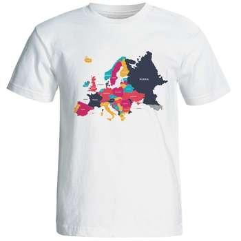تیشرت آستین کوتاه مردانه بلک اند وایت طرح نقشه اروپا کد 5694