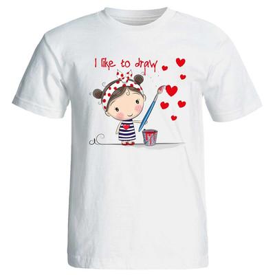 Photo of تی شرت زنانه پارس طرح کارتونی i like to draw کد 3731