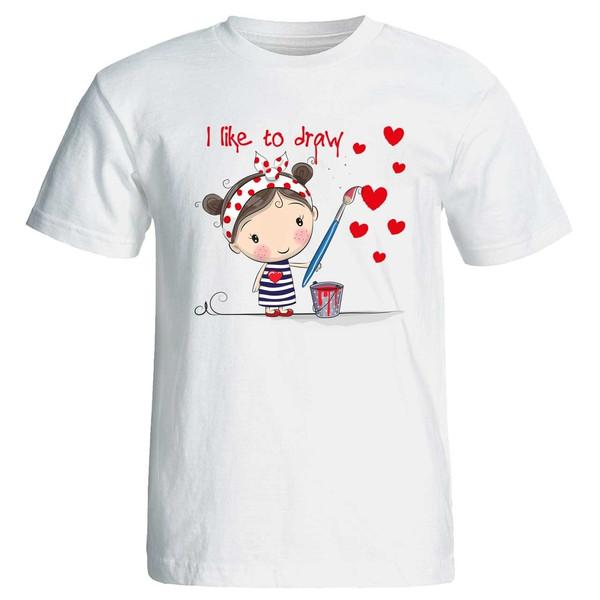 تی شرت زنانه پارس طرح کارتونی i like to draw کد 3731