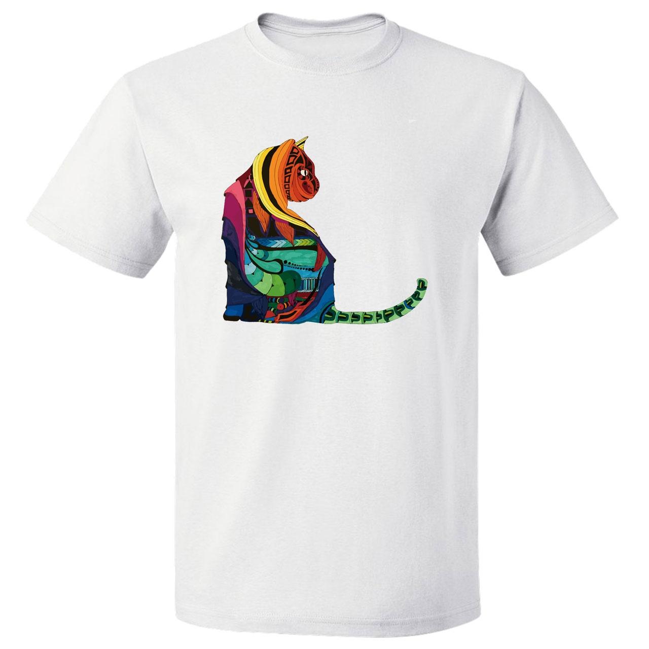 تی شرت آستین کوتاه مارس طرح گربه کد 3885