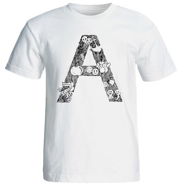 تی شرت آستین کوتاه مردانه شین دیزاین طرح حروف اول اسم A کد 4496